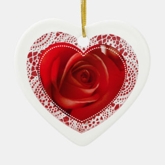 Heart and White Lace - ornament