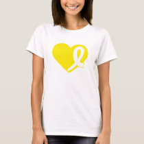 Heart and Yellow Bladder Cancer ribbon t-shirt