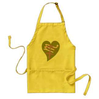 heart and zodiac sign adult apron