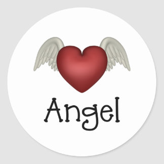 Heart Angel Wings Classic Round Sticker