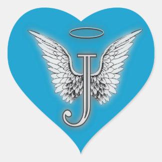 Heart Angel Wings Monogram Heart Sticker