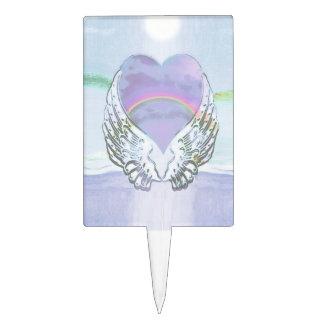 Heart, Angel Wings & Ocean Cake Topper
