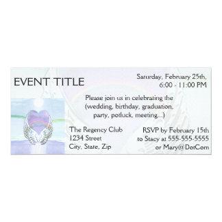 Heart, Angel Wings & Ocean 4x9.25 Paper Invitation Card