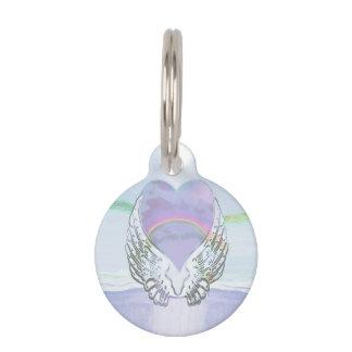 Heart, Angel Wings & Ocean Pet Name Tag