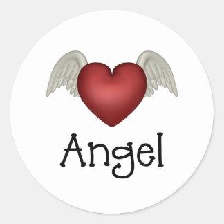 Heart Angel Wings Round Sticker