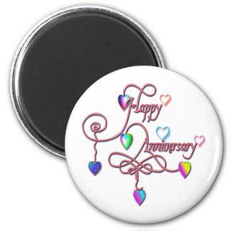 heart anniversary 2 inch round magnet