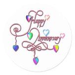 heart anniversary classic round sticker