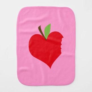 Heart Apple Burp Cloth