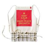 [Xmas tree] keep calm and make peace on earth  HEART Aprons Zazzle HEART Apron