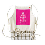 [Crown] keep calm and read p.y.t  HEART Aprons Zazzle HEART Apron