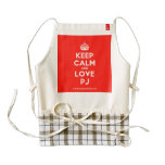 [Crown] keep calm and love pj  HEART Aprons Zazzle HEART Apron