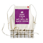 [Two hearts] keep calm and we will be back soon  HEART Aprons Zazzle HEART Apron