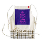 [Dancing crown] keep calm and love music  HEART Aprons Zazzle HEART Apron