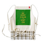[Knitting crown] keep calm and knit on  HEART Aprons Zazzle HEART Apron