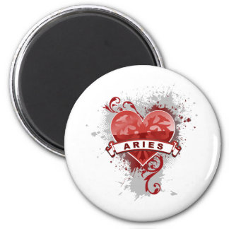 Heart Aries 2 Inch Round Magnet