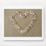 Heart arranged from Seashells Mouse Pad