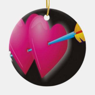 Heart arrow design ceramic ornament