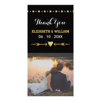Heart & Arrow Glitter Wedding Thank You Photo Card