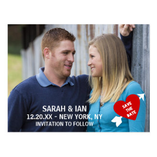 Heart Arrow Photo Save the Date Postcards