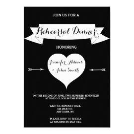Heart arrow rehearsal dinner invitations