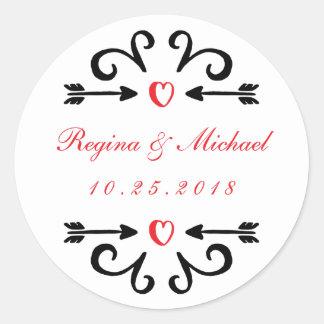 Heart Arrow Swirl Curl Wedding Thank You Sticker