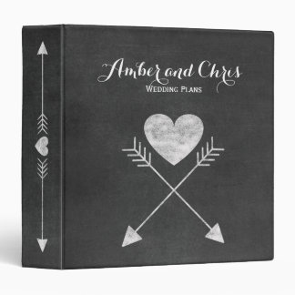 Heart Arrows Chalkboard Wedding Planner Binder