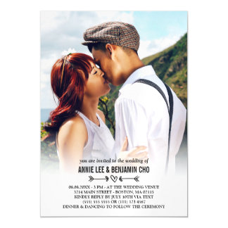 Heart & Arrows Custom Photo Wedding Magnetic Card