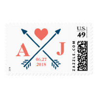 Heart & Arrows Monogram Initial Wedding Stamps