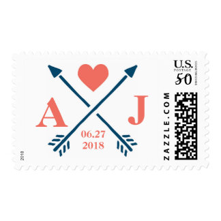 Heart & Arrows Monogram Initial Wedding Stamps