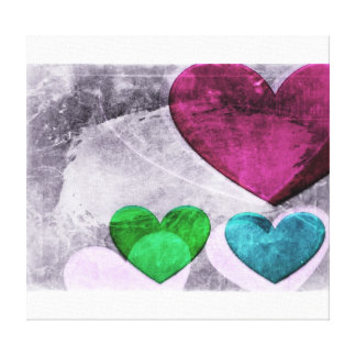 Heart Art   Pink and Blue Canvas Print