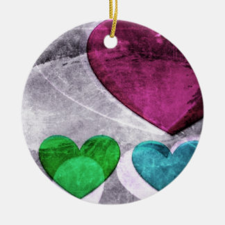 Heart Art | Pink and Blue Ceramic Ornament