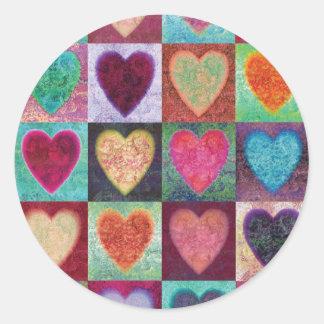 Heart Art Tiles Classic Round Sticker