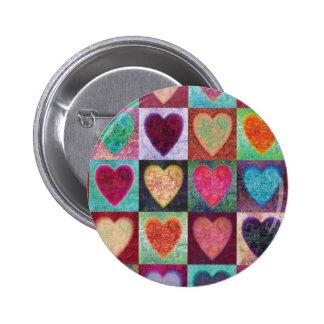 Heart Art Tiles Pinback Button