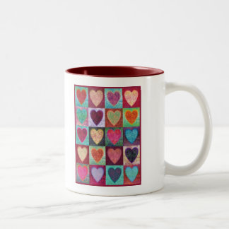 Heart Art Tiles Two-Tone Coffee Mug