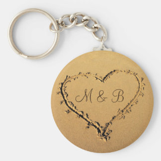 Heart at the Beach Personalized Monograms Keychain