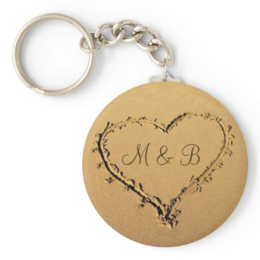 stdjura Heart at the Beach Personalized Monograms Keychain