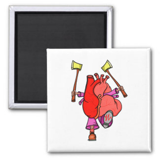 Heart Attack Funny Cartoon 2 Inch Square Magnet