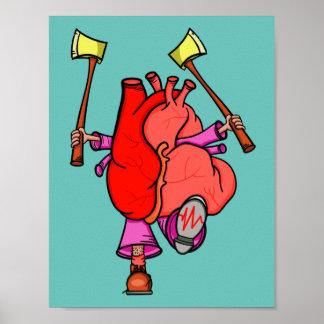 Heart Attack Funny Surreal Cartoon Poster