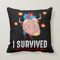 Heart Attack Survior Warrior Heart Disease Bypass Throw Pillow