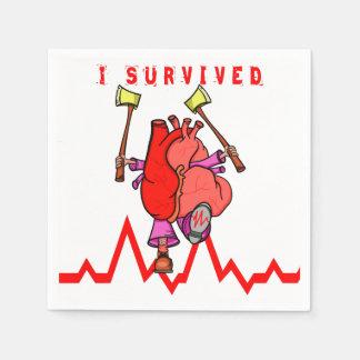 Heart attack survivor Funny Cartoon Napkin