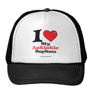 heart autistic nephew ravie black font 954 trucker hat