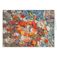 Heart Autumn Leaves Greeting Cards Rock Garden