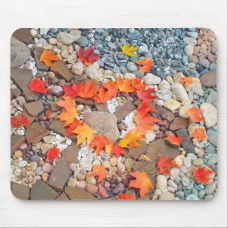 Heart Autumn Leaves Mousepads gifts Rock Garden
