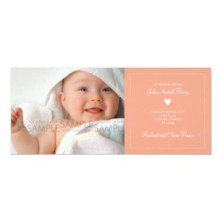"Heart • Baby Announcement 4"" X 9.25"" Invitation Card"