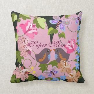 Heart, baby birds, damask flowers & Text pillow