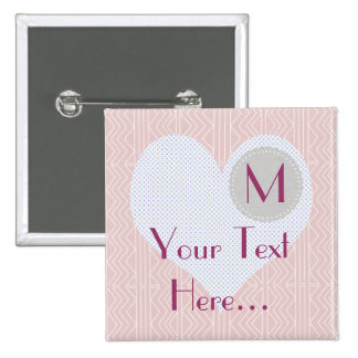 Heart Baby Shower Pink Princess Event Pastel 2 Inch Square Button