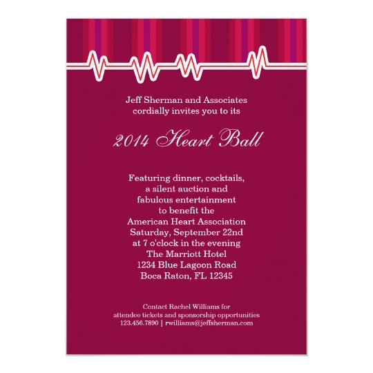 heart ball fundraising event invitation zazzle com