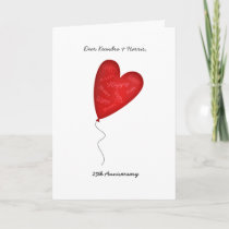 Heart Balloon 25th or Any Yr Anniversary Greeting Card