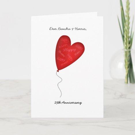 Heart Balloon 25th or Any Yr Anniversary Greeting Card