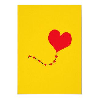 "Heart Balloon 5"" X 7"" Invitation Card"